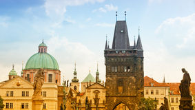 Sunrise on Charles bridge in Prague Royalty Free Stock Images