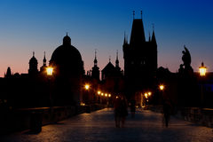 Sunrise on Charles bridge Royalty Free Stock Photography