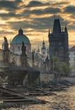 Sunrise on the Charles Bridge (Prague) Stock Images