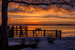 Snowy sunrise on the Chesapeake Bay Royalty Free Stock Photo