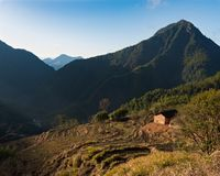 Sunrise in Chinese Mountain Village stock image