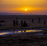 Sunrise at Chott el Djerid Stock Photo