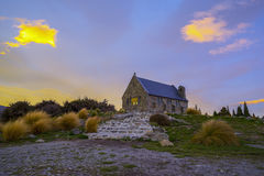 Sunrise at the Church of the Good Shepard, New Zealand. Royalty Free Stock Photography