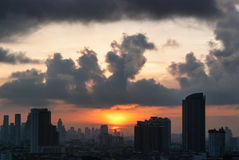 Sunrise at city of Bangkok Royalty Free Stock Photography