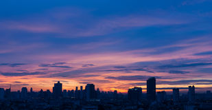 Sunrise at city of Bangkok Stock Photography