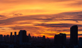 Sunrise at city of Bangkok Stock Image