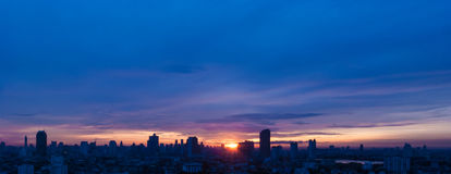 Sunrise at city of Bangkok Stock Photo