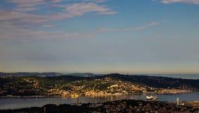 Sunrise on the city bay Stock Photo
