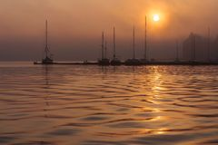 Sunrise in the city port of Rostock, Germany Stock Photo
