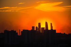 Sunrise at the city. Silhouette of buildings. Stock Photography