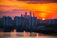 Sunrise at the city. Silhouette of buildings. Royalty Free Stock Photo