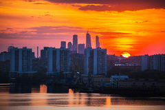 Sunrise at the city. Silhouette of buildings. Royalty Free Stock Images