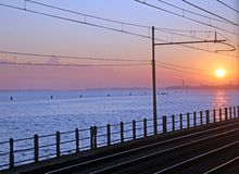 Sunrise on the city of Venice from train Royalty Free Stock Images
