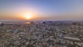 Sunrise with Cityscape of Ajman from rooftop timelapse. Ajman is the capital of the emirate of Ajman in the United Arab Emirates. 4K stock photo