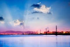 Sunrise cityscape of power tower Stock Image