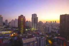 Sunrise cityscape view of Bangkok at dawn Royalty Free Stock Photos