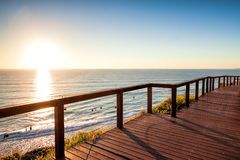 Sunrise from North Burleigh Lookout, Gold Coast Australia. Sunrise with clear sky from North Burleigh Lookout, Gold Coast Australia stock photo