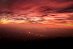 Sunrise at cliff at (Pha Nok Ann) Phukradung National Park, Thailand Royalty Free Stock Images