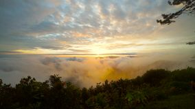 Sunrise in the cloud landscape mountain in a winter season At thailand.  stock footage