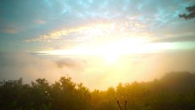 Sunrise in the cloud landscape mountain in a winter season At thailand.  stock video footage