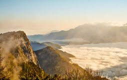Sunrise,cloud of sea, rocks and Yushan mounatin under sky in Alishan(Ali mountain) National Park Royalty Free Stock Photos