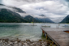Sunrise with clouds at beautiful lake Achensee in Tyrol, Austria Royalty Free Stock Photos