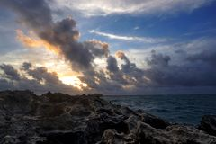 Sunrise after a stormy night in Hawaii royalty free stock images
