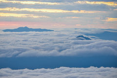 Sunrise among clouds. Cloudy sunrise viewed from the top of the Chirripo peak, Costa Rica Royalty Free Stock Image