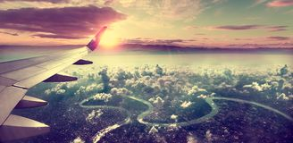 Sunrise and clouds.Flight and journey to destination Stock Photo