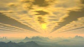 Sunrise through clouds stock footage