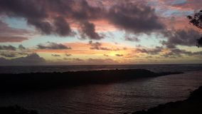 Sunrise clouds. Kapaa Kauai bike path Royalty Free Stock Image