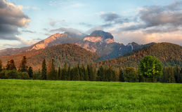 Sunrise clouds over mountains, Tatra Mountains Bielskie, Javor Royalty Free Stock Images
