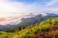Sunrise on the clouds in Thailand Royalty Free Stock Photo