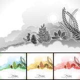 Sunrise in clouds and wilderness. Like wild plants- multiple color options Royalty Free Stock Photos