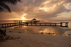 Sunrise on coast of Belize Royalty Free Stock Images