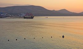 Sunrise on the coast of the Koktebel Bay. Stock Photos
