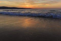 Sunrise on the coast of Sunny Beach in Bulgaria Royalty Free Stock Photo