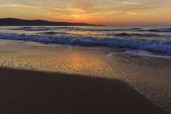Sunrise on the coast of Sunny Beach in Bulgaria Stock Image