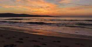 Sunrise on the coast of Sunny Beach in Bulgaria Royalty Free Stock Image
