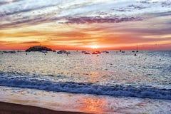 Sunrise on the coast of Tossa de Mar, Spain Stock Image