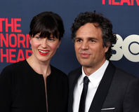 "Sunrise Coigney and Mark Ruffalo. Actress Sunrise Coigney and actor Mark Ruffalo arrive on the red carpet for the New York premiere of ""The Normal Heart, "" Royalty Free Stock Photos"