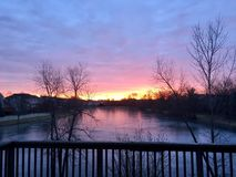Sunrise. On a cold day as seen from our back porch Royalty Free Stock Image