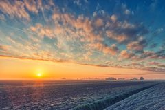 Sunrise in the winter morning Stock Photography