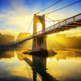 Sunrise on College footbridge in Lyon Stock Images