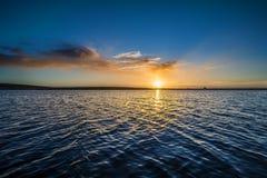 Sunrise on colliford lake, cornwall, uk Royalty Free Stock Images