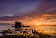 Sunrise at Collywell Bay Royalty Free Stock Images