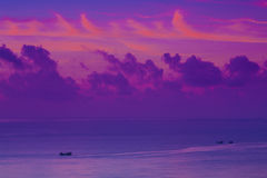 Sunrise color cloud boat Royalty Free Stock Photos