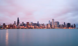 Sunrise Color Sky Lake Michigan Chicago Illinois City Skyline Royalty Free Stock Photos