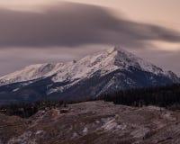 Sunrise in Colorado Mountains. A long exposure of Silverthorne, Colorado royalty free stock photos