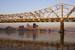 Sunrise colors on the bridge in Louisville Stock Photos